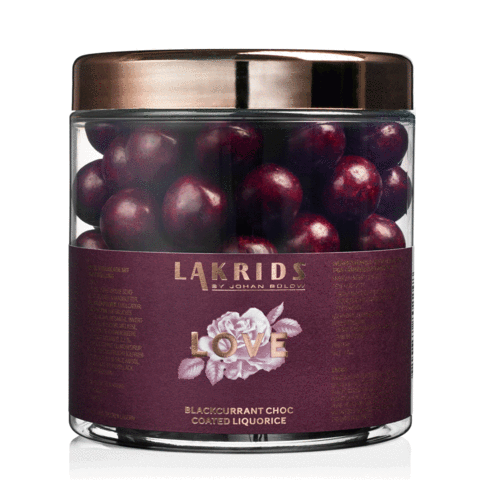 Johan Bülow Lakrids LOVE – Blackcurrant Choc Coated Liquorice